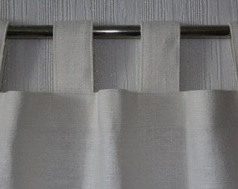Rustic White Burlap Curtains 100% Linen flax - Set of 2 Panels - Tab Top - Pick Your Burlap Color