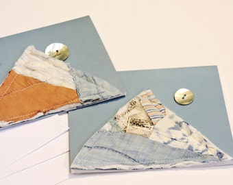 Vintage Patchwork Cards Quilted Everyday Blank Note Greeting Card Abstract Mountains and Moon Upcycled Stationery Set of 3 itsyourcountry