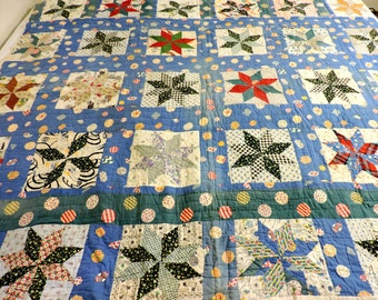 1930s 8 Point Star Quilt, Vintage Collectible Scrap Hand Quilted, Hand Pieced Patchwork Quilt, 76 x 66, Farmhouse Home Decor itsyourcountry
