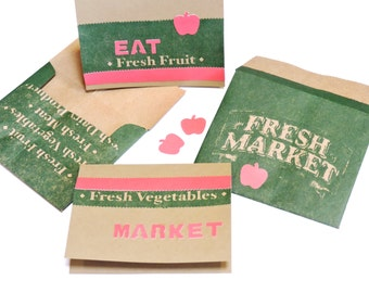 Paper Bag Stationery, Fruit Vegetables Fresh Market Note Card Envelope Set, Original Upcycled Grocery Sack Greeting Cards itsyourcountry