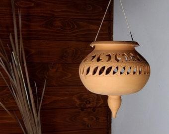 Terracotta Lantern planter pot to hang fretwork italian pottery