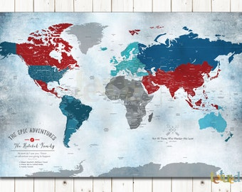 Cotton Anniversary Gift, Military family gift, Gift for General, Hearts on Places, Destination wedding, Farewell gift, World Map