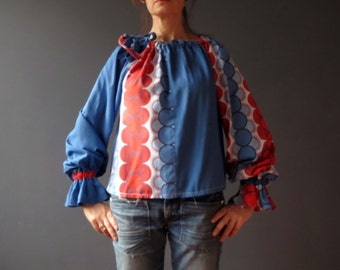 70s Cotton Bold Circle Top Harlequin Drawsting Top Small