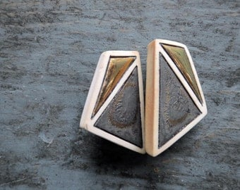 60s Lucite Mod Geometric Earrings Clip Ons Bronze Black Midcentury Modern