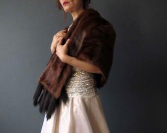 Vintage 60s Chestnut Mink Fur Stole Cape