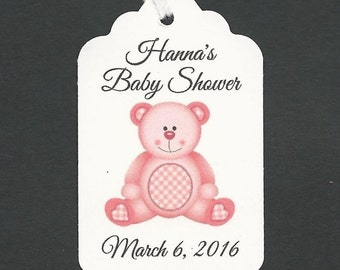 20 CUSTOM Baby GIRL TEDDY Bear Thank You Gift / Party Favor-Birthday tags/ Baby Shower Tags / Hang Tags