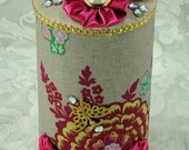 Round Fabric Covered Canister