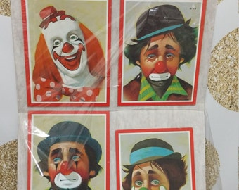 Vintage 1980s Clown Wood Plaques or Wall Hangings.  Creepy or Halloween Decor - Circus or Carnival Decor -