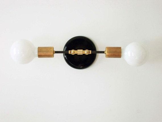 modern double wall brass sconce lamp wall light fixture bedroom light bedside light black gold lamp