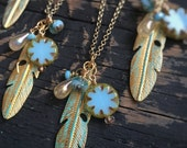 Boho Gold Feather Charm Necklace Brass Glass Bead Long Layering Bohemian Chic Hippie Aqua Turquoise