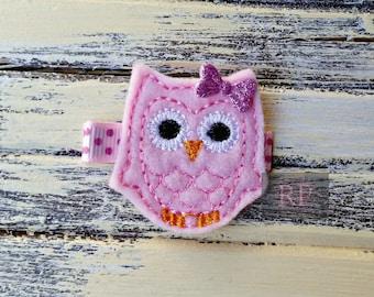 Felt Pink Owl on Alligator Clip - Bird Clip - Embroidered Felt - Hair Clip