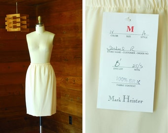 vintage Mark Heister white silk skirt / size small medium