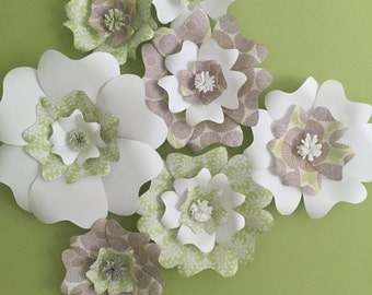 7 Piece Handmade Green, Purple and White Paper Flower Backdrop, bridal shower, baby shower, kids room, teens room, nursery, flowers, wall de