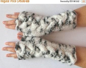 White Fingerless Gloves Knit Gloves Winter Gloves Off White Black Long Fingerless Gloves