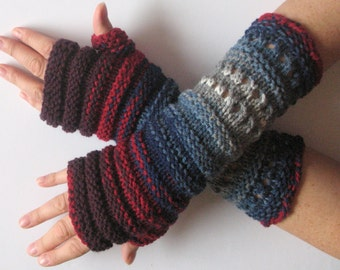 Fingerless Gloves Burgundy Red Blue Azure Gray Arm Warmers Knit Soft Acrylic