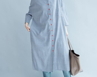 Autumn loose fitting gown Blue single breasted Long Shirt