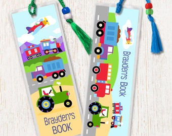 Kid's Personalized Trains Planes and Trucks Bookmarks, Boy's Laminated Vehicle Bookmarks, Bookmark Set of 2, Great Gift, Birthday Gift