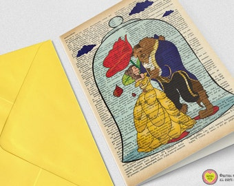 Beauty and the Beast Greeting Card-4x6 inches-Belle card-The beast card-Invitation card-Stationery card-Design by NATURA PICTA NPGC068