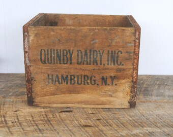 Vintage Quinby Dairy Inc Wood Crate Hamburg New York