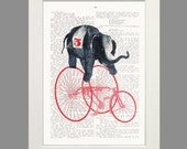 Elephant Racing Bicycle Art Print Poster Wall Decor Illustration Dictionary Art Animal Art Number Five Red Bicycle