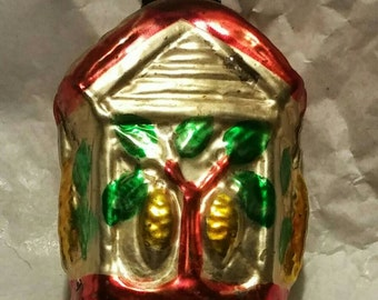 Vintage Christmas Cottage Figural Ornament Shiny Brite Mid Century