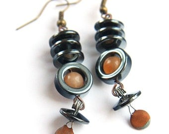 Industrial Earrings. BORG 3, Resistance is Futile, Wearable Tech, Antique Rustic Brown Resistor, Large Hematite Discs, Agate Gemstone