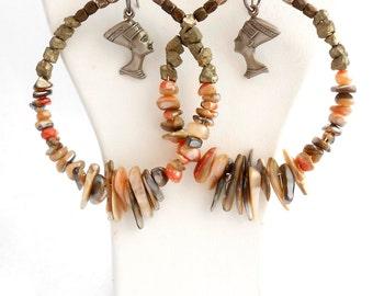 Nefertiti Earrings, Earthtone Earrings, Egyptian Earrings, Statement Earrings, Tribal Earrings, OOAK Earrings, Shell Earrings, Hoop Earrings