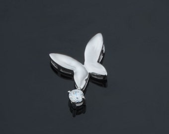 925 Sterling Silver rhodium plated pendant, butterfly , silver supplies jewelry making