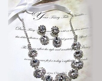 Wedding jewelry set , Bridal necklace earrings, vintage inspired rhinestone bridal necklace statement, crystal jewelry
