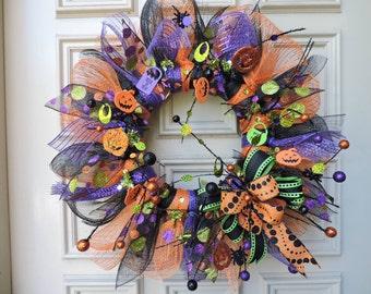 Halloween Wreath - Halloween Door Wreath - Halloween Mesh Wreath - Orange, Black, Purple Wreath - Halloween Wreath Decoration - Door Hanger