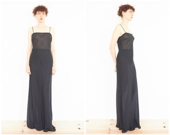 90s Minimal Sheer Black Spaghetti Strap Maxi Dress