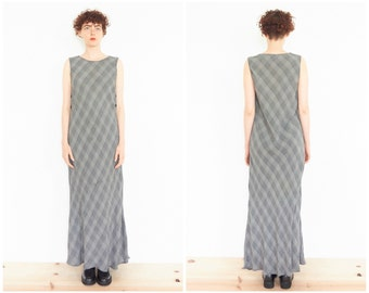 90s Sleeveless Plaid Bias Cut Maxi Dress