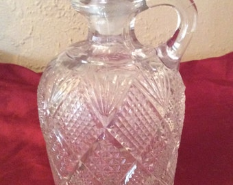 Vintage cut glass decanter  liquor bottle  barware