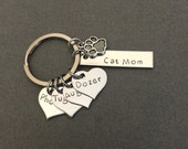 SALE Cat mom keychain with 4 cats, Personalized Keychain, Heart Charm, Name Keychain with Paw Charm, Rectangle Keychain, Stainless Steel