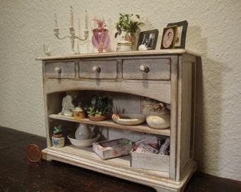 dollhouse miniature furniture in walnut wood.