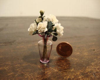 dollhouse  Miniature glass vase with white roses
