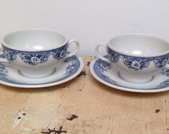 Set of 2 vintage soup cup and saucers, made in Holland by Royal Sphinx , Maastricht