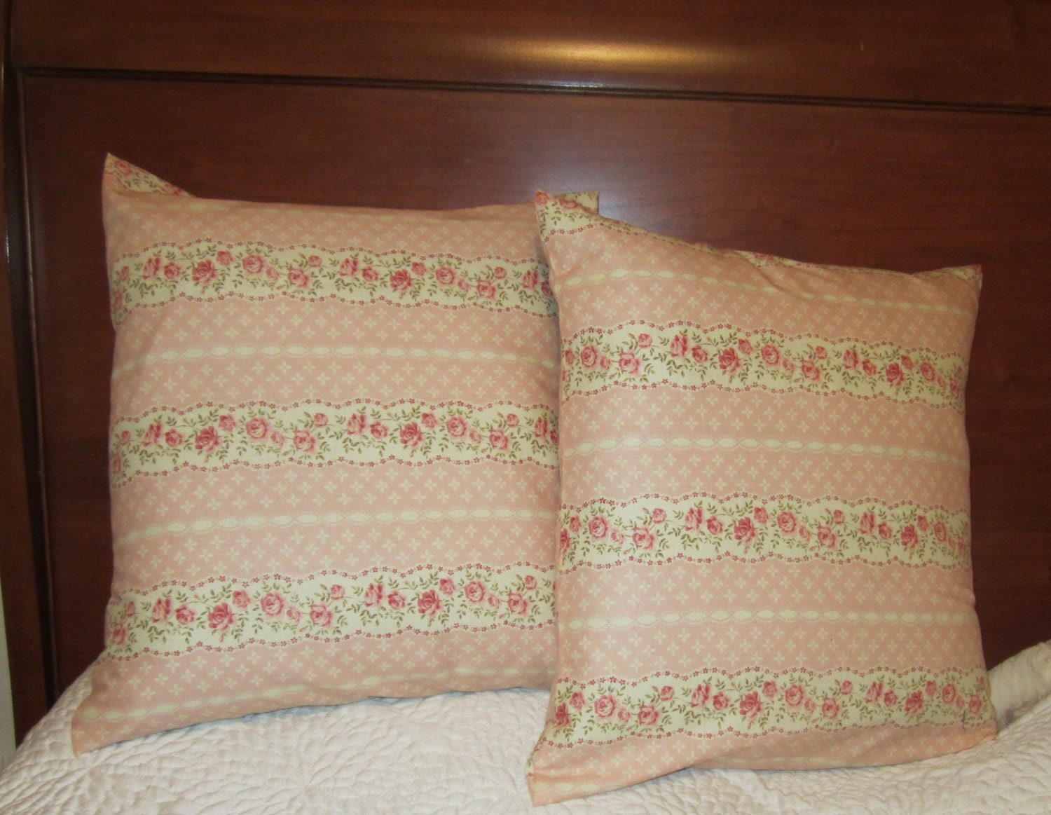 Shabby Chic Pink Pillows : Shabby Chic rose and Pink Pillow cover/ 16 X 16 pillow cover
