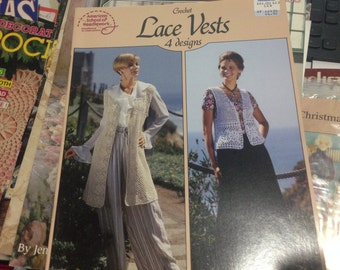 Crochet Lace Vests 4 Designs American School of Needlework by Mary Ann Frits