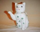 Small Teapot Cat Kitten Vintage Single Serving Ceramic