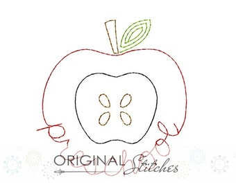 Preschool Apple Quick Stitch Machine Embroidery Design File 4x4 5x7 6x10 7x11