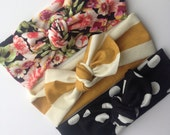 Baby knotted headbands- set of three, vintage floral, mustard stripes and black and white polka dot