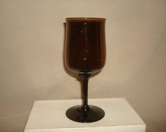 Lenox Glass ESPRESSO-BROWN Wine Glass ~ 8 Available ~ Vintage 1970s Mid Century