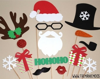 Christmas Holiday Props - 15 piece set - GLITTER Photo booth Props - Christmas Photo Props