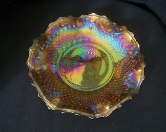 Vintage Carnival Glass Bowl / Dish with fluted edge - Orange / Peach Pearly Pink