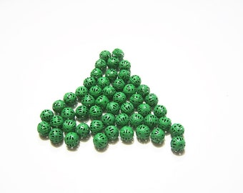 48 - Kelly Green, 8 mm,  Metal, Filigree, Spacer Beads