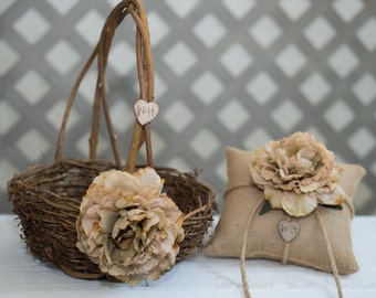 Large Rustic twig flower girl basket and burlap ring bearer pillow personalized with bride and groom initials other flowers to select from
