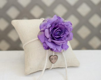 Purple Rose  ring bearer pillow. Customize with flower and bride and groom initials