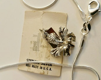 Sterling Silver hibiscus flower charm - 925 Silver Chain - Necklace