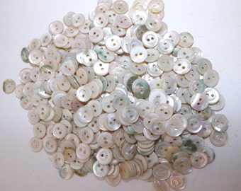 Victorian over 300 matching MOP Mother of pearl shell round buttons 12mm